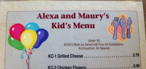 Menu with apostrophes. Photo, Janice Heck
